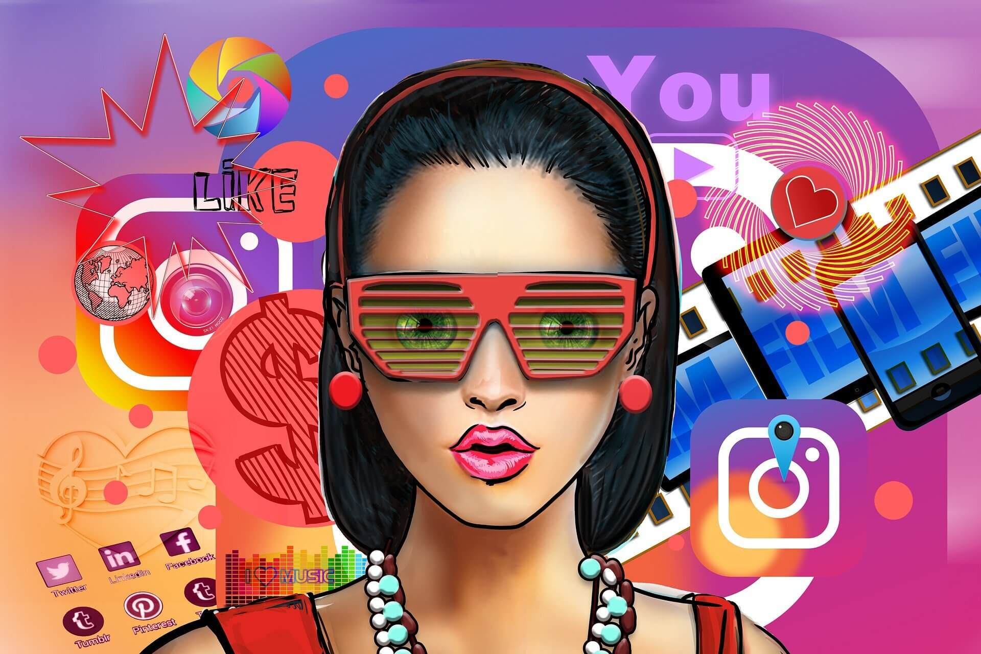 Animated i`mage of a female influencer marketer