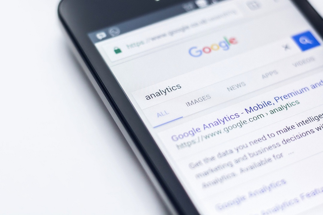 Analytics typed into Google Search mobile browser